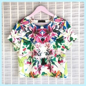 Fashion to Figure Tropical Floral Short Sleeve Top